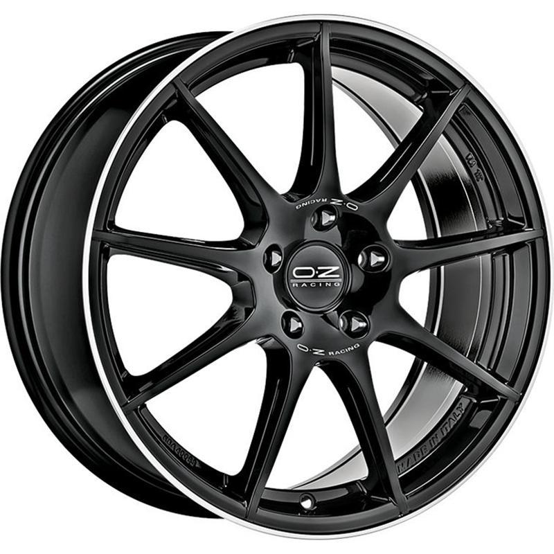 oz racing VELOCE GT GLOSS BLACK+DIAMOND LIP+SILVER LETTERING